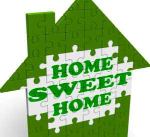 puzzle of rental house with 'home sweet home'